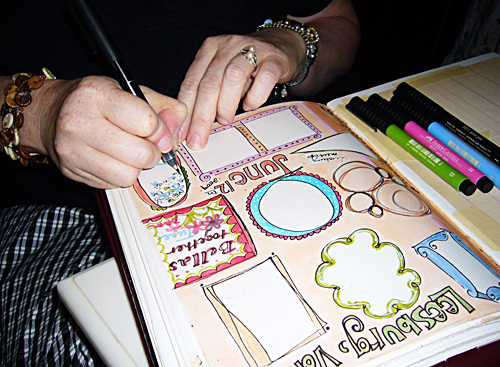 beth working in my journal