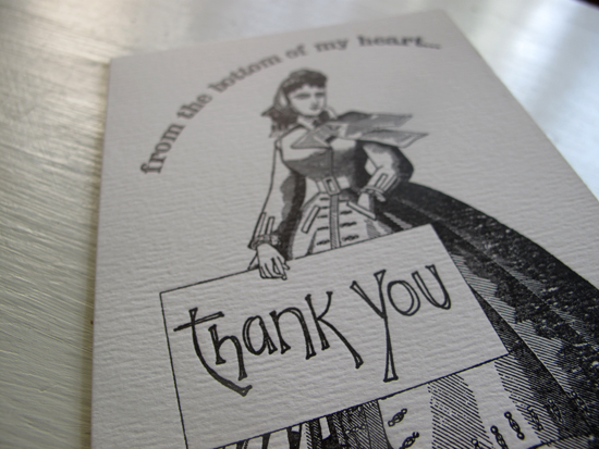Paper Relics Letterpress Thank You Card