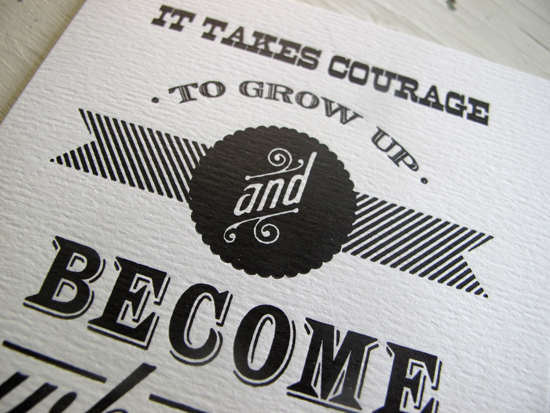Paper Relics Letterpress Quote Card